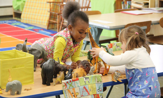 nursery school students playing with toy animals